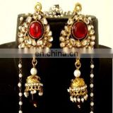 Indian Kundan Kashmiri Jhumka Earring-Kashmiri Jhumka Ethnic Jewellery-Fashion Earrings for Women-Wholesale Pearl Jhumka earring