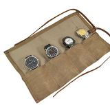 waxed canvas travel roll organizer holds up to 4 watches