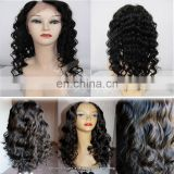 On sale !!!! 2014 New top quality indian glueless lace front wig with bangs not shedding and tangle free
