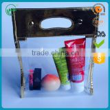 Promotional high quality fashion transparent clear plastic travel pvc cosmetic Bag with handle