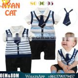 2016 British Style Newborn Baby Clothes Cotton Jumpsuits Breathable Toddler Boy Stripe Rompers Breathable Handsome Boy Clothing