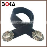 // retro style western 3cm black elastic belt // with claw rhinestone buckle for ladies //