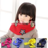 2015 Autumn Winter Newest Stars Label Applique Soft Warm Acrylic Knitting Kids Boys Girls Scarf