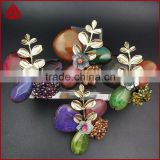 New Korean fashion design high quality wedding bouquet gold plated alloy butterfly jasper brooch pin jewelry