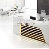 2 seats MDF reception desk dimensions with light inside