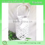 Round white Wicker lantern /Hanging glass candle lanterns/Antique wood candle lanterns with glass bottle