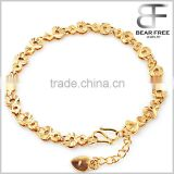 Women's 18k Gold Plated Adjustable Bracelets Heart Flower Beads Chain Wristband Wedding Bride Charm