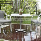 patio wicker rattan bamboo like arm chair, aluminum frame cafe chair with armrest, vintage powder coating chair
