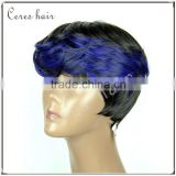 curling iron safe futura synthetic wig ST1B Blue short bob curl wig with full bang beautiful and elegant wig
