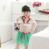 2015 cute baby girl green yarn dress summer swimming set kids swimming suit lovely lassock swimming set