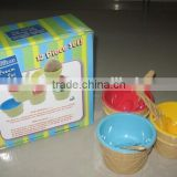 6 Pieces Plastic Ice Cream Bowls with Spoons with color box                                                                         Quality Choice
