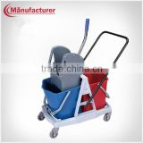 Household Plastic small roller double mop wringer bucket, mop wringer trolley on wheel