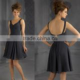 Free shipping ruched customize 2014 knee length cheap dark gray bridesmaid dresses CWFab5847
