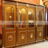 Luxury French Louis XV Style Golden Stuy Room Bookcase/ Palace Fancy Wood Carved Display Cabinet/ Antique Glass Showcase