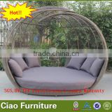 Rattan furniture bamboo daybed / wicker sunbed with canopy