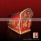 Chinese coffin style excellent quality red glazed cremation equipment ceramic urn for funeral supply