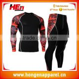 Hongen apparel 2016 Wholesale custom printed compression mma rash guard Lycra Short Sleeve Rash Guard