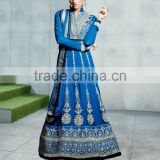 Blue color with Maize color embroidery border at bottom and crepers all over Anarkali Designer Semi Stitch Salwar Kameez