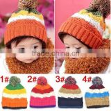 mixed color 100%acrylic children baby winter hat