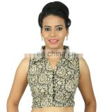 Smart Black And Offwhite Kalamkari Print With A Shirt Collar. Pure Cotton Non-padded, Sleeveless Blouse for women