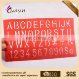 Fancy plastic letter stencil ruler with EN71 testing passed & OEM colors