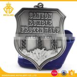 3D Customized Canyon Waterfall Metal Medal in Antique Silver