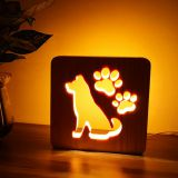 Carved Pets Personal Memorial Gifts Wooden LED Dog and Paws Light