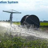 Traveling rain gun sprinkler irrigation water pump supplied hose reel irrigation boom