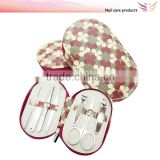 Beauty and personal care lady manicure set 4 leaves flower PU manicure pedicure