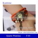 Tree leaf pendant traditional classic style Quartz watch F-01 with leather strap, bronzed watch case