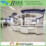 Large round MDF white baking paint cash counter furniture,saler' reception service desk counter furniture