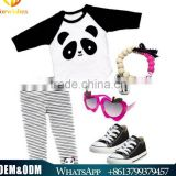 2016 Spring autumn children clothes sets kids cartoon pandas outfits baby long sleeve t-shirt + stripe long pants suits
