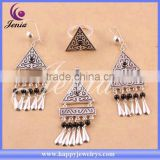 triangle shaped jewelry set fashion design black agate thai silver jewellery manufacturer (6309T3-1)