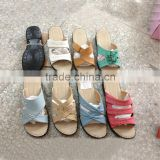 2016 New summer causal sandals for girls sexy fashion wedge heel rhinestone lady's slides black gold silver sandals