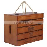 New arrive handmade oak wood wine box 6 bottles pine wood wine box chrismas wine bottle box