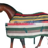 Horse Fleece Rug (B.Green/Red/Navy/Yellow/L.Blue Strip)