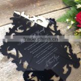 2016 hot sale laser cut black acrylic wedding invitations with white screen printing                                                                         Quality Choice