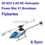 wl v977 Newest 3D to 6Gyro model shuffle rc helicopter 6ch Power Star X1 Brushless Flybarless