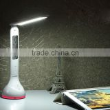 LIADA Foldable Dimmable RGB Colorful LED Table Desk Reading Lamp Clock Atmosphere Light with Date Time Temperature for Office