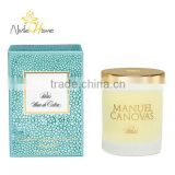 luxury white soy wax scented candle in glass jar with metal lid