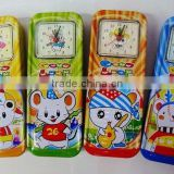 double cartoon metal pencil case with alarm clock
