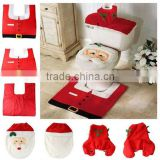 Hot Christmas Decoration Santa Claus Christmas Snowman Toilet Seat Cover and Rug Bathroom Set