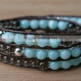 Amazonite, Sterling Silver, Triple Wrap Leather Beaded Bracelet. Semiprecious beads. Smoky Quartz, Sterling beads and button.