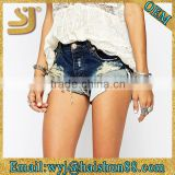 Stylish facy snow washed knit bleached new style denim shorts