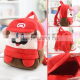 25*19cm(S)/35*28cm(L) lovely customzied red Super Mario plush animal cartoon backpack for children