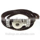 CJ2053 Hottest simple click for snap button bracelet, alloy with rhinestone bracelet,braided leather bracelet