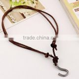 vintage real cow leather fish hook pendant bown genuine cowhide necklace for men