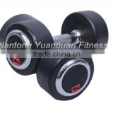 Wholesale Crossfit Gym Equipment Black Round Rubber Coated Dumbbell with Chrome Cover Plate                                                                         Quality Choice