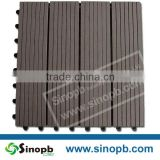 High resistance to moisture, mildew outdoor WPC interlocking decking tiles, plastic base composite deck tiles