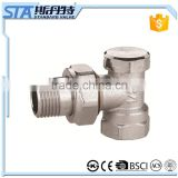 ART.5041 Taizhou factory lockshield with straight body hexgon nut and PTFE seal DN15 DN20 nickeled brass forged radiator valve
